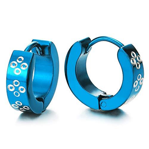 Blau Creolen für Herren Damen, Edelstahl Huggie Ohr Manschette Ohrringe mit Kreis Kreuz Laser-Muster