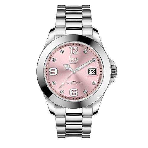Ice-Watch - ICE steel Light pink with stones - Silbergraue Damenuhr mit Metallarmband - 016776 (Medium)