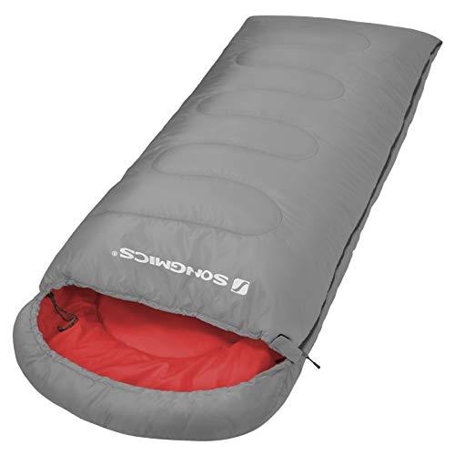 SONGMICS 寝袋 シュラフ 封筒型 軽量 保温 コンパクト アウトドア キャンプ 登山 車中泊 防災用 丸洗い可能 快適温度5℃-15℃ 1.2kg 春夏秋の使用可能 NGSB02GY