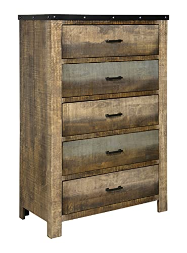 """Coaster 205095-CO Sembene Collection 38"""" Chest with 5 Drawers Nail Head Accents Black Metal Hardware Asian Hardwood and Tropical Wood Materials In Antique Multi, Antique Multi"""
