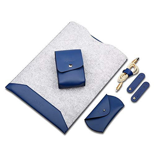 YANSHANG Protective Phone Shell 4 in 1 Laptop Crazy Horse Texture Fur Felt Inner Bag + Power Bag + Mouse Storage Bag + 3 Earphone Cable Winders for Macbook Air Retina 13.3 inch (2018) (Color : Blue)