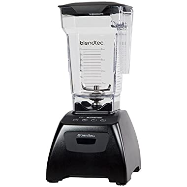 Blendtec Classic Fit Blender with FourSide Jar (64 oz), 30-sec Pre-programmed cycle, High-Low Pulse, Black