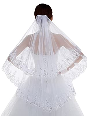 Edith qi 2 Tier Lace Silver Lined Beaded Edge Fingertip Length Bridal Wedding Veil,White,Free Size
