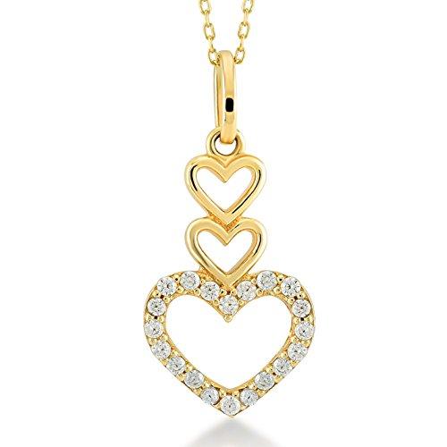 Damen Halskette 14 Karat / 585 Gelbgold drei Herzen als Anhänger / 14k Gold 3 Hearts Necklace   Kettenlänge 45cm