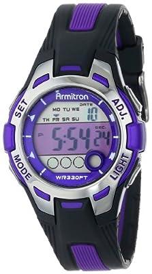 Armitron Sport Women's 45/7030PUR Purple Accented Black Resin Strap Digital Chronograph Watch