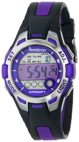 Armitron Sport Women's 45/7030PUR Purple Accented Black Resin Strap Digital...