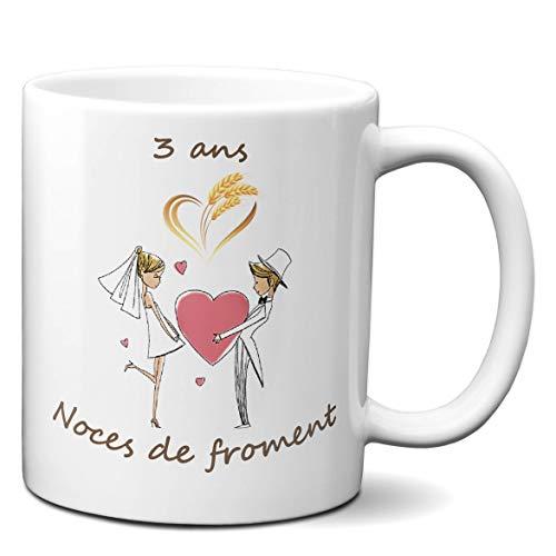 Tasse-Mug Cadeau Anniversaire 3 ans de Mariage Noce de Froment Original Amour Couple Romantique