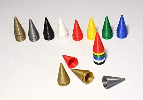 Goldene und silberne stapelbare Hütchen-Spielfiguren für Fang den Hut und viele andere Brettspiele