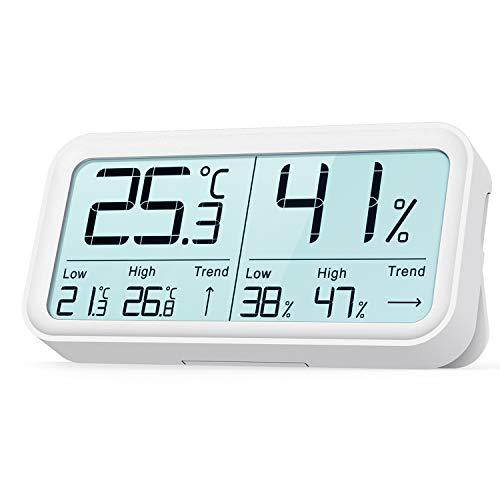BFOUR Hygrometer Innen, Digital Thermometer Hygrometer Feuchtigkeit Thermo-Hygrometer Luftfeuchtigkeitsmessgerät Raum Temperaturmesser (1 Pack Weiß)