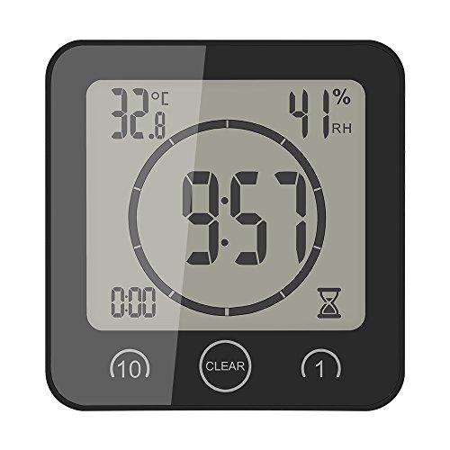 TIEMORE Reloj y Temporizador de baño a Prueba de Agua para Ducha, Reloj de Humedad Digital con Ventosa con 2 Pilas alcalinas AAA (no Incluidas)