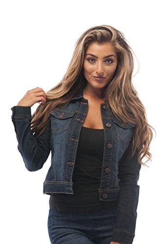 Womens Basic Button Down Denim Jean Jacket (Medium,, Darkblue, Size Medium