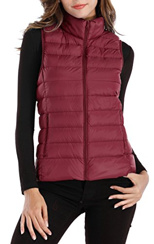 Sarin Mathews Womens Packable Ultra Lightweight Down Vest Outdoor Puffer Vest Red XL