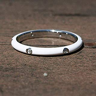 Skinny White Cloisonné Enamel Band Sterling Silver 925 Cubic Zirconias, Wedding Ring, Stacking, His Hers Bands, Gift For Her