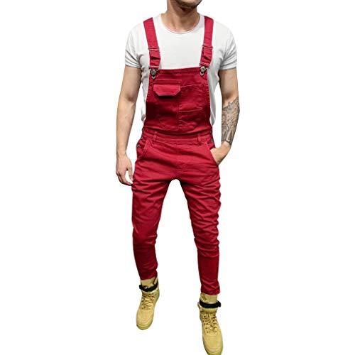 Xiangdanful Herren Jeans,Retro Denim Overalls Jumpsuit Latzhose, Lange Jeanshose Streetwear Arbeitshosen,Loose Fit,Stone-Washed,Männer Trägerhose Denim Pants Biker Jeans Cargohose (M, B-Rot)