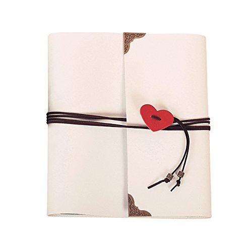 Guwheat Scrapbook Album, Leder Fotoalbum Retro Album Hochzeit Gästebuch DIY Vintage Scrapbook Schwarze Seiten Fotobuch, für Geburtstags Jahrestag Geschenk (Weiß, 26X21.5 cm)