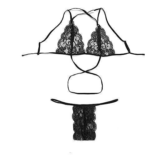 ypyrhh Conjunto de ropa interior de dormir, lencera sexy, bikini cruzado de encaje, negro _M, disfraz de anime Cosplay