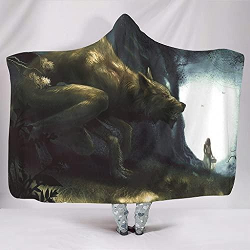 kikomia Manta de peluche con capucha de Fantasy Wolf para niñas, estampado de bosque, multicolor, 150 x 200 cm