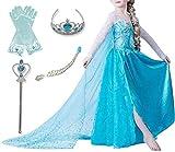 TTYAOVO Vestido de Fiesta de Cumpleaños para Niñas, Vestido de Princesa de Manga Larga para Niñas Talla(100) 2-3 Años 5 Piezas Azul 02