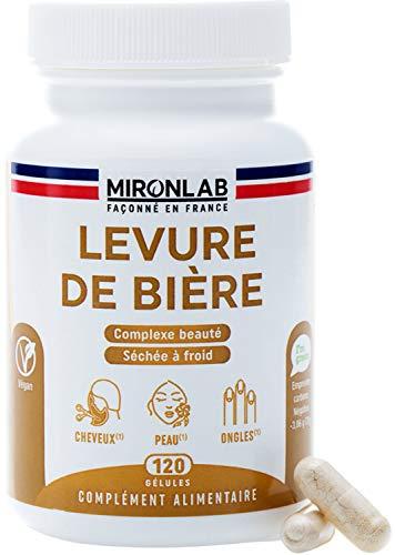 Levure de bière Active | Associé à des nutriments pour une action renforcée | Teneur élevée 1640mg/jour | Beauté des cheveux, peau et ongles |120 gélules végétales | Façonné en France MironLab®