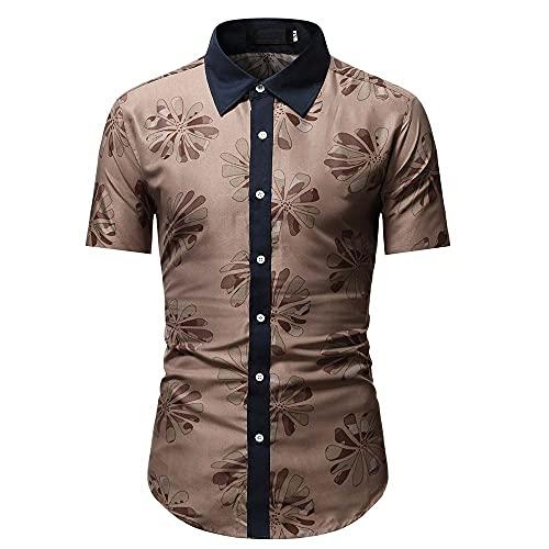 Camisa Hombre Slim Fit Verano Negocios Casual Hombre Manga Corta Urbano Moderno Caballero Hombre Henley Camisa Slim Fit Camisa Stretch Hombre Shirt A-Brown S