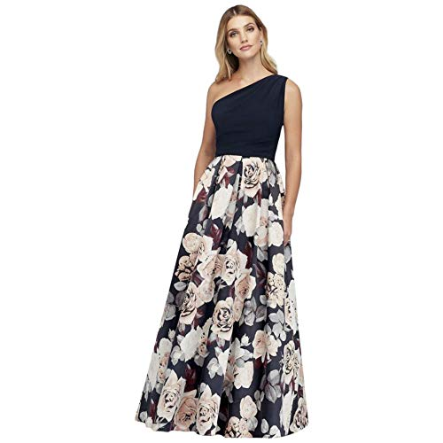 Printed Satin and Jersey One-Shoulder Ball Mother of Bride/Groom Gown Style A21528, Navy, 18