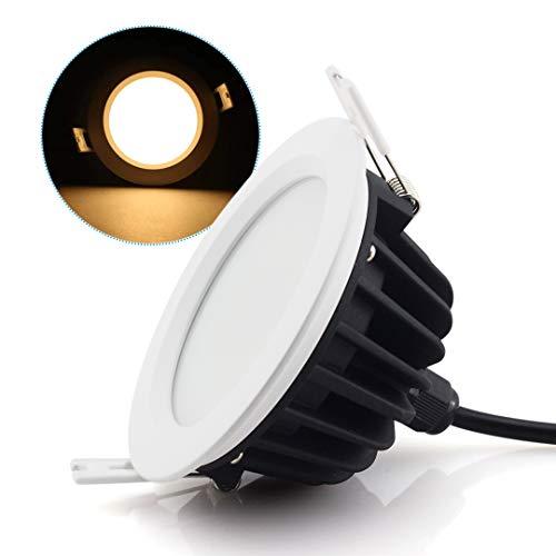 9W Downlight LED,Luminaires Encastrés Plafonnier Lampe à Panneaux - Étanche IP65 pour Salle de bains et Chambre Éclairage Intérieur Extérieur (3000K,AC220V-240V, Pack de 1)