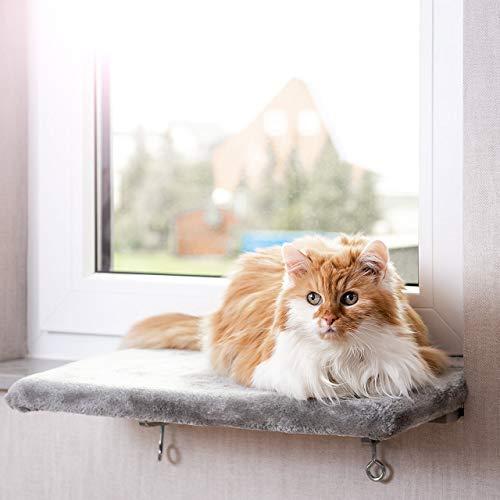 CanadianCat Company ® | Snuggly Place | Medium | Hellgrau | gepolsterte Liege- Aussichtsplattform | ca. 50x35 cm