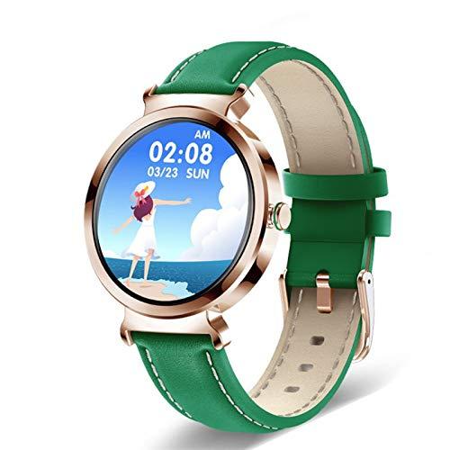 FOTGL 2021 Luxury Smart Watch Women Impermeable Sports Fitness Tracker para Android iOS Reloj Inteligente Moda Mujer Smart Watch (Color : Leather Green)