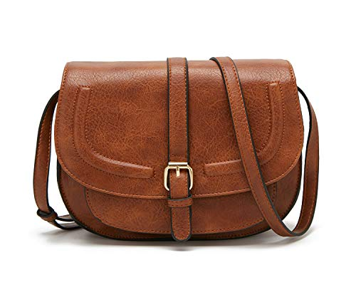 Forestfish Women's Crossbody Bags Saddle Purse Satchel Bag Tote Shoulder Handbags, Brown
