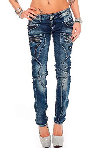 Cipo & Baxx Damen Jeans Hose Hüftjeans Skinny Slim Fit Stretch, Blau, 25W / 32L