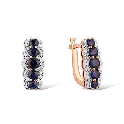 DEYUOIJ Pendientes de Oro para Mujer 14K 585 Oro Rosa Espumoso Zafiro Azul Diamante Alianza de Boda Compromiso Joyería Fina de Moda