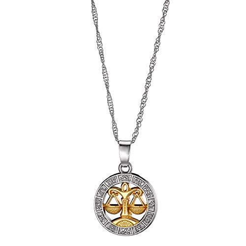 Antonia Langsdorf Silber Goldfarben - Sternzeichen Horoskop Schmuck - Damen Anhänger Halskette - Tierkreis - Waage (2,5x2,5 cm)