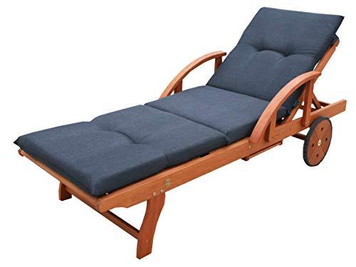 GRASEKAMP Qualität seit 1972 Gartenliege Rio Grande mit Auflage Anthrazit Holz Liege Sonnenliege Relaxliege