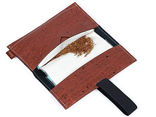 Bolsa para Tabaco Hecha de Corcho/Piel de Corcho Vegana - Funda, Estuche para Tabaco de Liar con Compartimento Adicional para mechero, filtros y Papeles by SIMARU (Rojo)