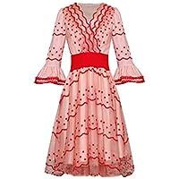 Moda Vestido de Primavera Verano de Las Mujeres Vestido Bordado con Cuello en V Vestido de Bola Vestidos de Malla,Rosa,XL