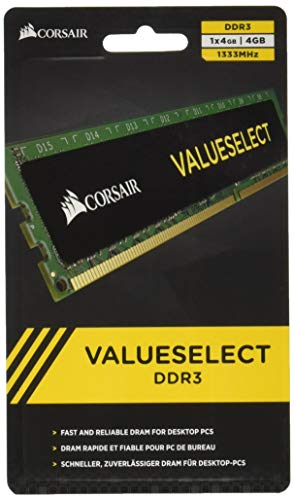 Corsair CMV4GX3M1A1333C9 Value Select Modulo di Memoria da 4 GB, DDR3, 1333 MHz, CL9