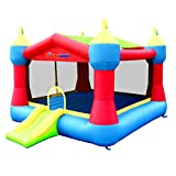 Bounceland Inflatable Party Castle Bounce House Bouncer, 16 ft L x 13 ft W x 10.3 ft H, Basketball Hoop, Removable Sun Roof, UL Strong Blower included, Fun Slide and Bounce Area, Castle Theme for Kids