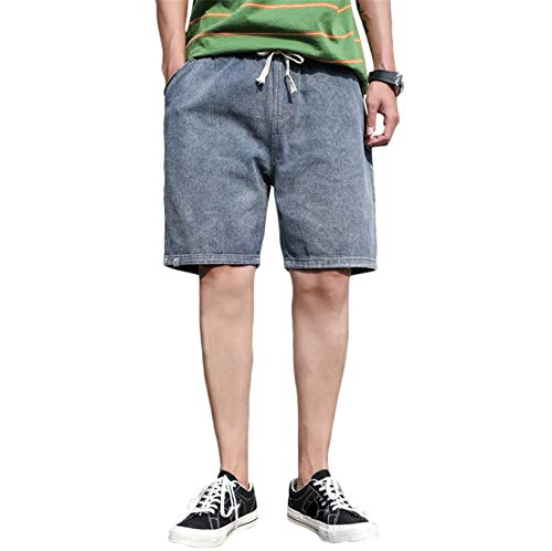 Andongnywell Men's Casual Classic Fit Drawstring Summer Short Denim Pants with Elastic Waist Jeans Shorts Pockets (Blue,Large)