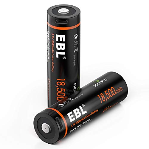 EBL Rechargeable Lithium 3.7V Batteries with 18,500mWh Button Top USB Rechargeable Battery for Flashlights, Portable Radios, LED Headlamp (2 Pack)