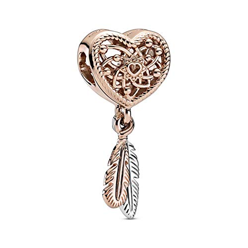 Pandora Passions Open Crafted Heart & Two Feathers Dream Catcher Charm Sterling Silver