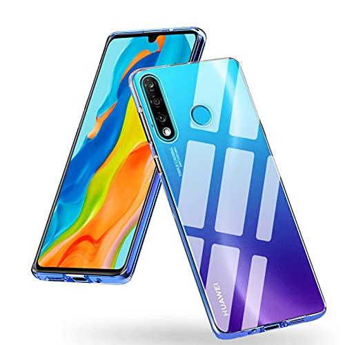 Whew Crystal Clear Huawei P30 Lite Hülle, [Transparent Anti-Gelb] Hard PC und Soft Silikon Ultra Hybrid Huawei P30 Lite Handyhülle Durchsichtig Silikon Schutzhülle Slim Hülle