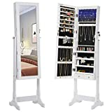 SONGMICS 6 LEDs Cabinet Lockable Standing Mirrored Jewelry Armoire Organizer 2 Drawers White UJJC94W