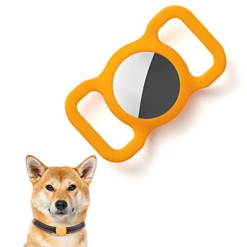 Kuaguozhe Custodia protettiva in silicone compatibile con Apple Airtag GPS Finder collare per cani, Pet Loop Holder per Apple Air_Tags, Slide On Sleeve compatibile con Apple Airtags (giallo scuro)