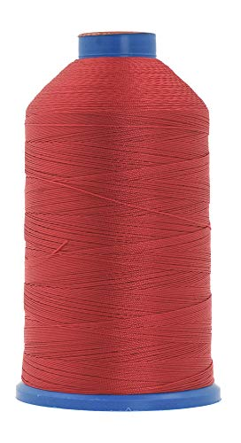 Mandala Crafts Bonded Nylon Thread for Sewing Leather, Upholstery, Jeans and Weaving Hair; Heavy-Duty (T210 #207 630D/3, Red)