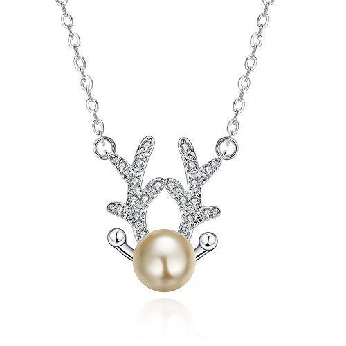 donne lucido lovely renna Antlers imitazione perla in argento placcato, pendente per Natale