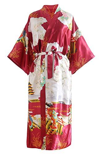 YAOMEI Novia Mujer Vestido Kimono Satén, Camisón para Mujer, Sedoso Flores de Geisha Robe Albornoz Dama de Honor Ropa de Dormir Pijama, S-2XL (Busto: 126cm, de S a 2XL, Darkred)