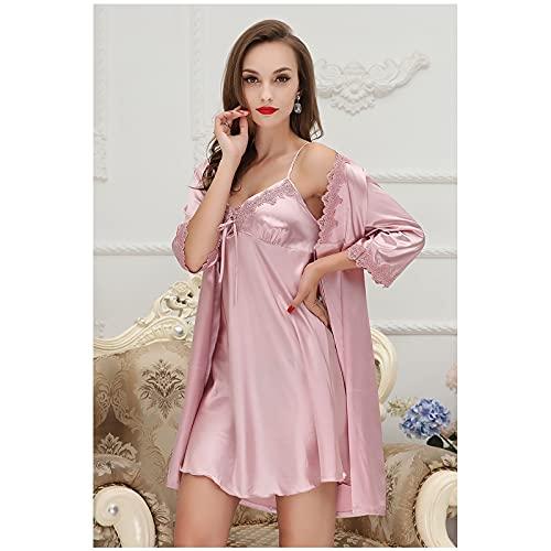 BBZZ Señoras Sexy Silk Satin Robe Camisola Pijamas Vestido 2 Piezas Set Pijamas Los Mejores Regalos para niñas,Rosado,M