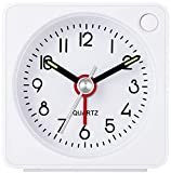 Travel Analog Alarm Clock, 2.25 inch, Ultra Small Clock with Snooze and Light Function, Super Silent Non Ticking, Battery Operated, Easy Setting (White)