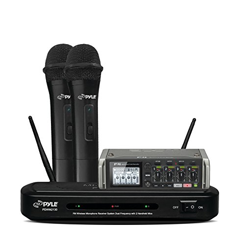 Zoom F4 Multitrack Field Recorder with Dual Frequency Wireless Mic Receiver Set with 2 Handheld Dynamic Transmitter Mics