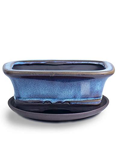 Dahlia 5.3' Ceramic Succulent Pot/Bonsai Pot Shallow w Drainage Hole & Detachable Saucer, Rectangle